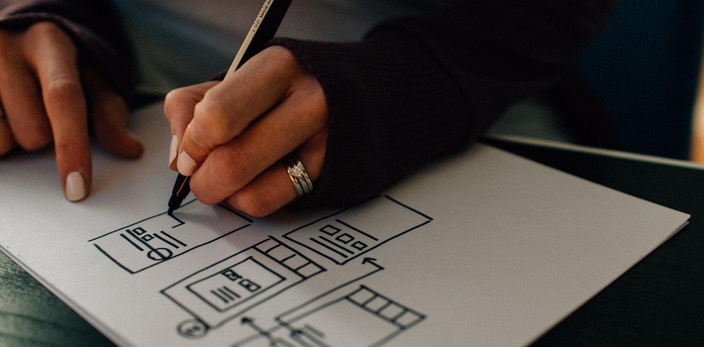 Wireframes auf Papier gezeichnet